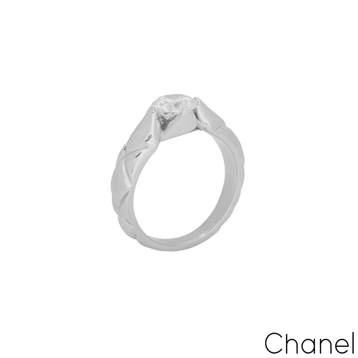 Chanel Platinum Diamond Coco Crush Ring 1.03ct F/VS1